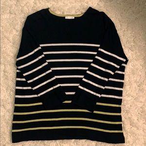 J. Jill Striped Boat Neck Long Sleeve/Sweater